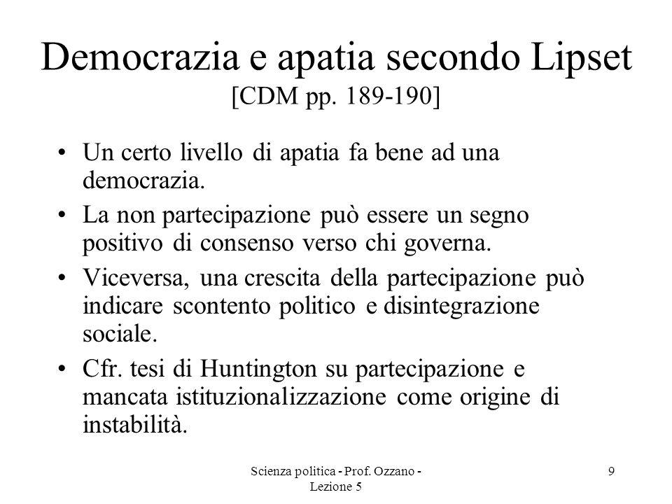 Democrazia e apatia secondo Lipset [CDM pp. 189-190]